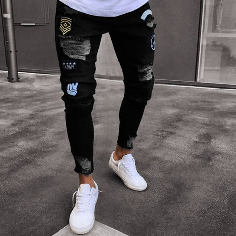 NEW 2020 men's hole embroidered jeans Slim men trousers Casual Thin Summer Denim Pants Classic Cowboys Young Man black blue
