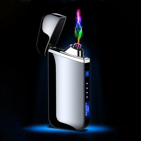 USB Electric Lighter Finger print Touch Fire Plasma Double Arc Lighter Windproof Metal Cigarette Lighters Men Gift Drop shipping