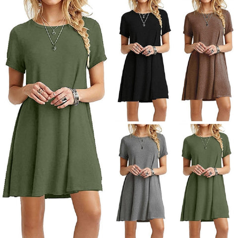 Casual Boho Beach Dresses  Womens O-Neck Party Summer Dress Short Sleeve Loose Mini Dress