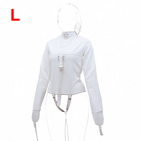 camaTech PU Leather Straitjacket BDSM Bondage Harness Adjustable Women Straight Jacket with Hands and Crotch Straps Restraints