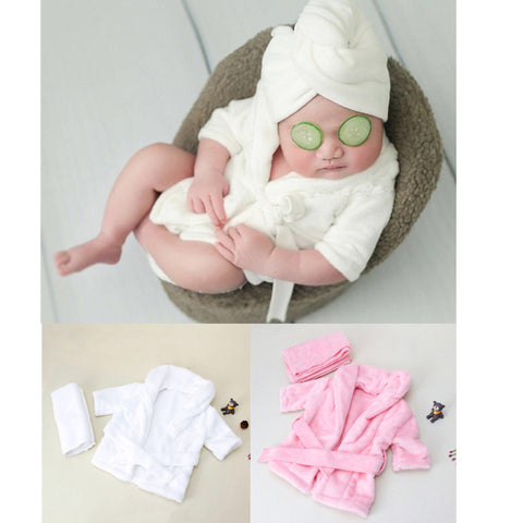 New Baby Bathrobes Bath Towel Solid Color Warm Baby Hooded Robe With Belt Newborn Photography Props Baby Photo Shoot Accessories