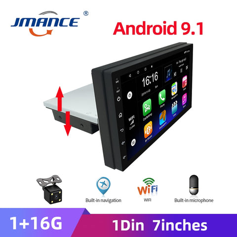 JMANCE 1DIN Adjustable FM 7 Inch Car Stereo Radio Android 9.1 Contact Screen 1080P Quad-Core GPS Navigation Car Radio Player