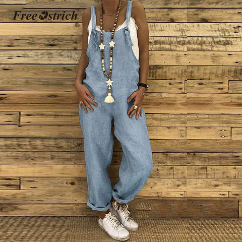 Free Ostrich Women Casual Solid Jumpsuits Vintage Linen Loose Harem Bib Overalls Wide Leg Pant Lace Up Long Rompers