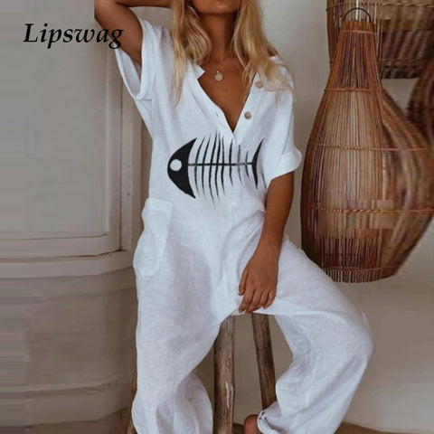 Women Elegant Button V Neck Cotton Linen Jumpsuits 2020 Summer Printed Short Sleeve Jumpsuit Loose Trousers Romper Sexy Bodysuit