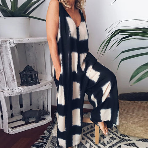 New Women Rompers With Pockets V Neck Plaid Style Sleeveless Jumpsuit 2020 Women's Jumpsuits Sexy Loose Romper