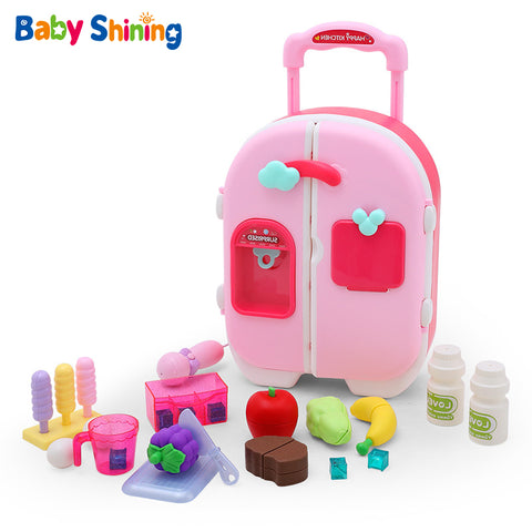 Baby Shining Baby Toys Children's Kitchen Toy Set Simulation Refrigerator Kitchenware Girl Mini Play House Cart Trolley BOX