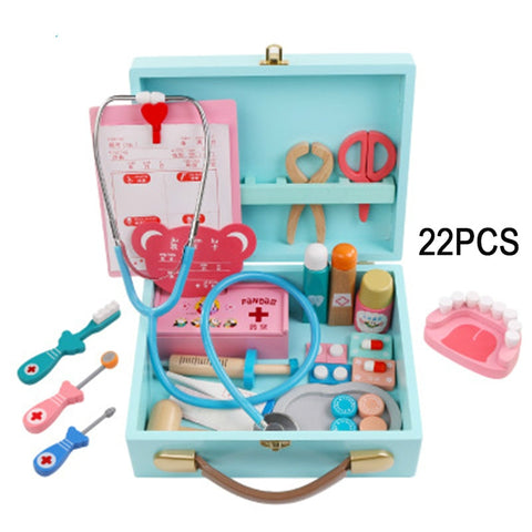 Baby toys Funny play Real Life Cosplay Doctor game Portable Medicine Box Pretend Doctor Play Set Wooden toy for Kid