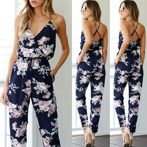 Summer Women Fashion Jumpsuits Clubwear Floral Print Playsuit Bodycon Party Jumpsuit Loose Trousers Femme Deep V-neck Jumpsuits