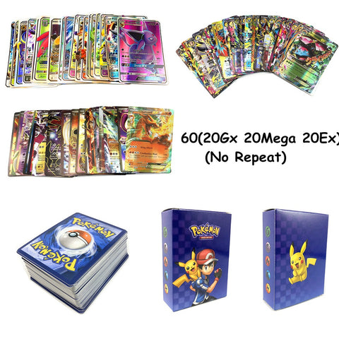 60pcs Series Pokemones Cards GX MEGA TAG TEAM EX TAKARA TOMY CARD Game Battle Card