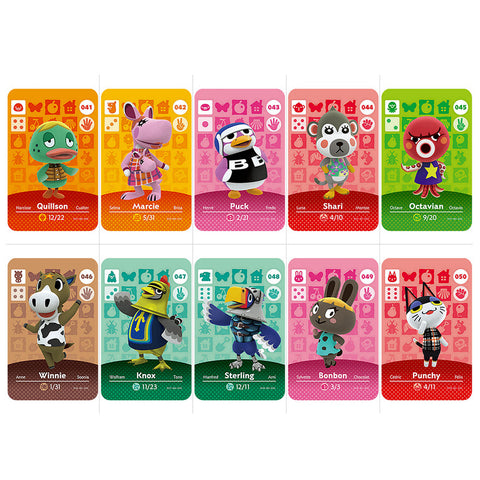 41-60 Animal Crossing Card Amiibo Card Work for NS Games Series 3 Quillson Marcie Puck Shari Octavian Knox Game Cards Styles