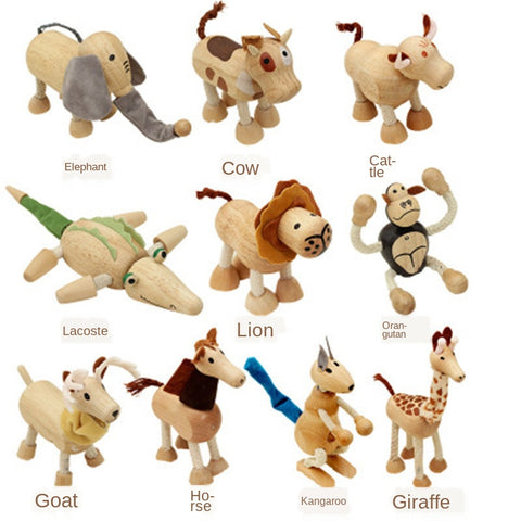 Wood toys Simulation Wild Toy Animals Model Animal Static Animal Cognition Environmental Protection Solid Wood Animal Doll
