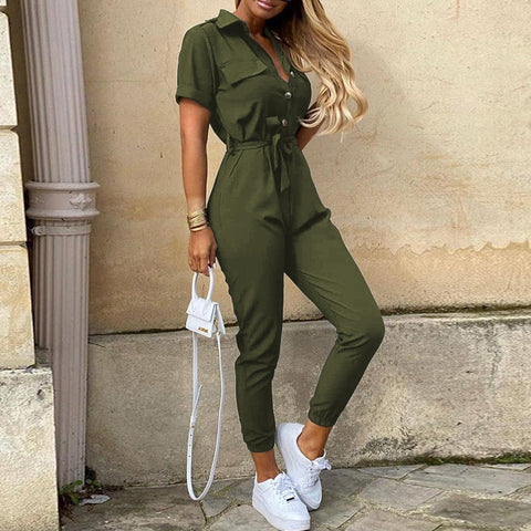 Elegant Women Solid Color Jumpsuit 2020 Summer Deep V Neck Button Shirt Overalls Short Sleeve Office Lady One Piece Romper Belt