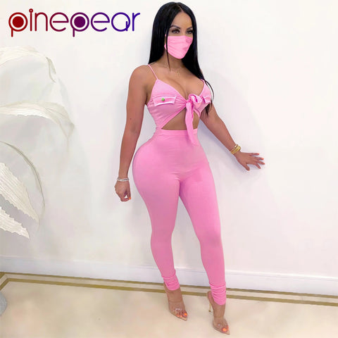 PinePear Bow Tie Bodycon Strap Rompers Womens Jumpsuit Sexy Party Clubwear V Neck Hollow Out Overalls with Mask Drop Shipping
