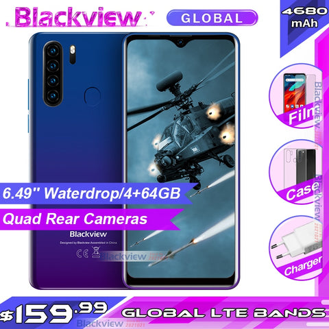 Blackview A80 Pro 6.49'' Waterdrop 4GB + 64GB Smartphone Helio P25 Octa Core Android 9.0 Global Version 4G Mobile Phone 4680mAh