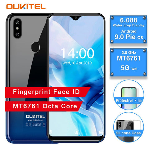 OUKITEL C15 Pro Android 9.0 3GB RAM 32GB Mobile Phone MT6761 Fingerprint Face ID 4G LTE Smartphone 2.4G/5G WiFi Waterdrop Screen