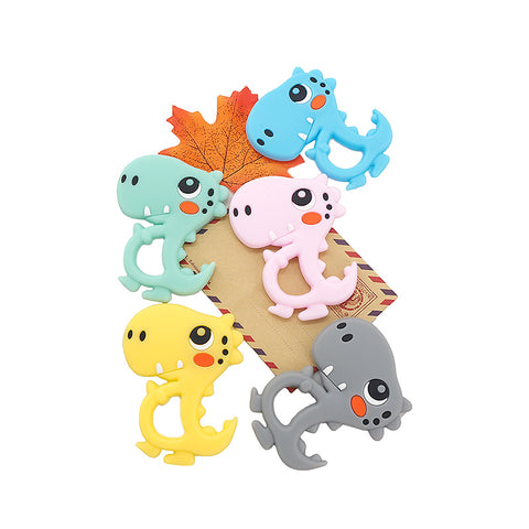 Chenkai 10PCS BPA Free Silicone Dinosaur Teether Baby Teething Toy DIY Infant/Toddler Soothing Nursing Teething Chain Accessory