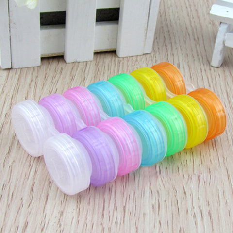 Random Color Plastic Contact Lens Box Holder Portable Small Lovely Candy Color Eyewear Bag Container Contact Lenses Soak Stora