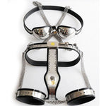 3pcs/set Female chastity device bondage kit stainless steel chastity belt panty bra thigh ring bdsm fetish wear sex games toys
