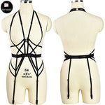 Gorgeous Fetish Bondage Body Harness Neck Cage Bra Rave Crop Top Women Bustier Pole Dance Leg Harness Garter Belt
