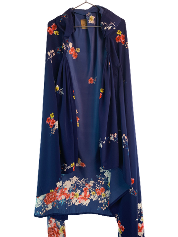 Blue Floral Flowy Cape