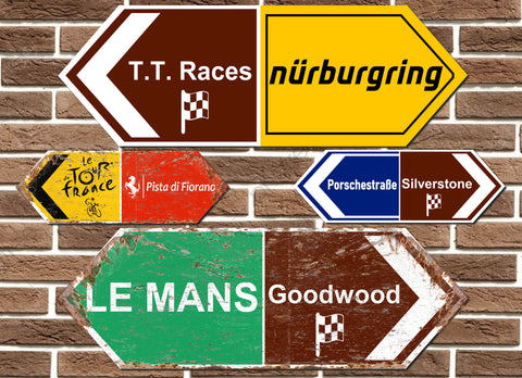 Double Ended Race Circuit/ Sporting Metal Road Sign