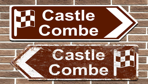 Castle Combe Race Circuit Metal Road Sign