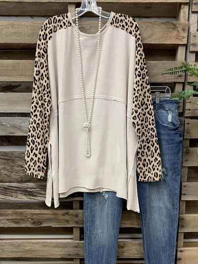 Apricot Printed Casual Long Sleeve Shirts & Tops