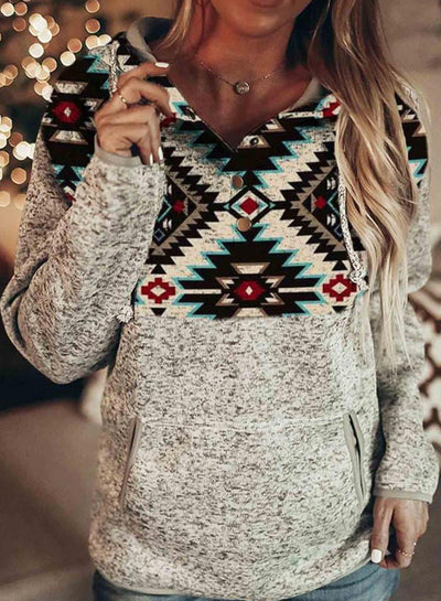 White Casual Cotton-Blend Geometric Printed Sweatshirt
