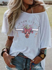 Vintage Short Sleeve Boho Cute Horns Letter Printed Plus Size Casual Tops