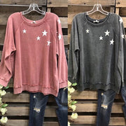 Naked Pink Star Cotton-Blend Printed Long Sleeve Sweatshirt
