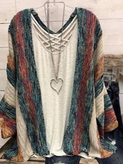 Multicolor Color-Block Patchwork Long Sleeve Knitted Outerwear