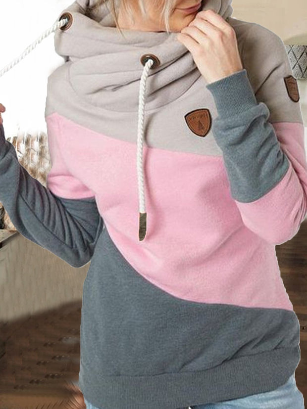 Pink Patchwork Casual Sweatshirt