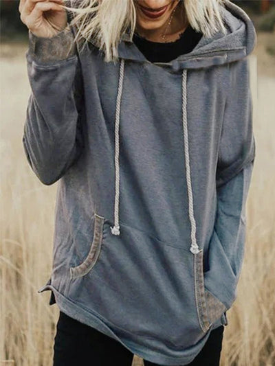 Grey Casual Hoodie plus size Sweatshirt