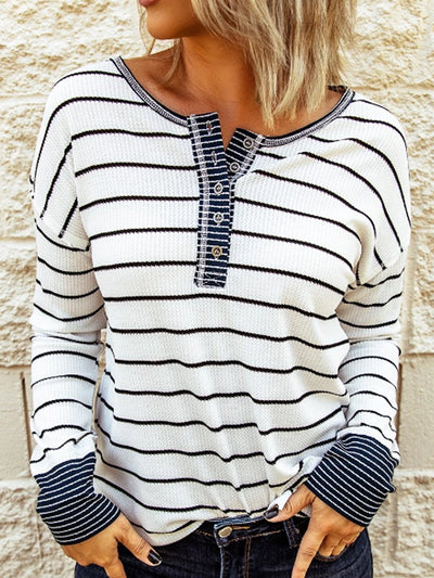 White Round Neck Stripes Cotton-Blend Casual Sweatshirt