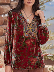 V Neck Long Sleeve Floral Vintage Shirts & Tops
