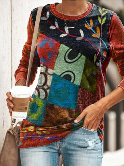 Casual Floral-Print Crew Neck Long Sleeve Shirts & Tops