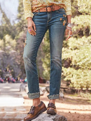 Casual Denim Floral-Print Washed Pants