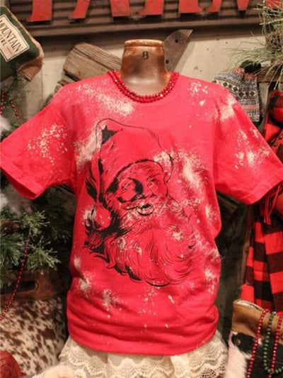 Floral-Print Christmas Snowman Crew Neck Casual Shirts & Tops