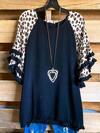 Casual Short Sleeve Leopard Shirts & Tops