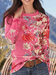 Floral Casual Round Neck Long Sleeve Shirts & Tops
