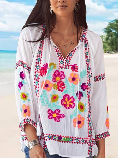 Casual Embroidered V Neck 3/4 Sleeve Shirts & Tops