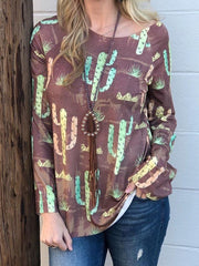 Boho Long Sleeve Round Neck Top