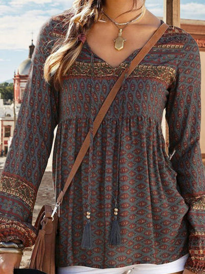 Tribal V Neck Long Sleeve Blouse