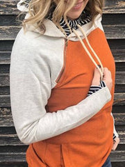 Orange Color-Block Cotton-Blend Long Sleeve Sweatshirt