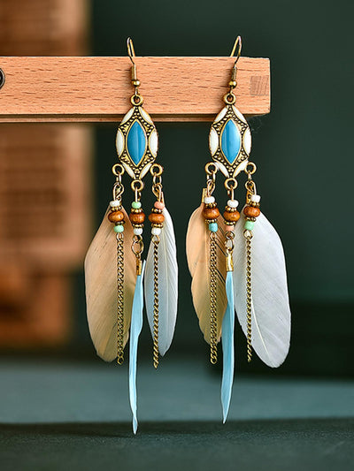 Bohemian Fringed Feather Earrings