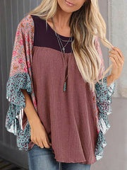 Floral Sleeve Color-Block Shirts Blouses
