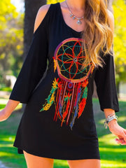 Casual 3/4 Sleeve Round Neck Plus Size Printed Dress