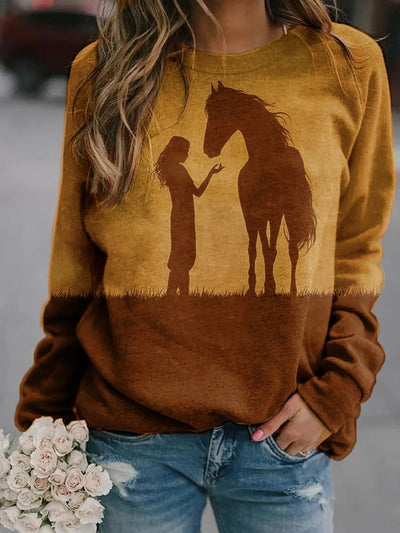 Girl And Horse Print Crew Neck Sweatshirt