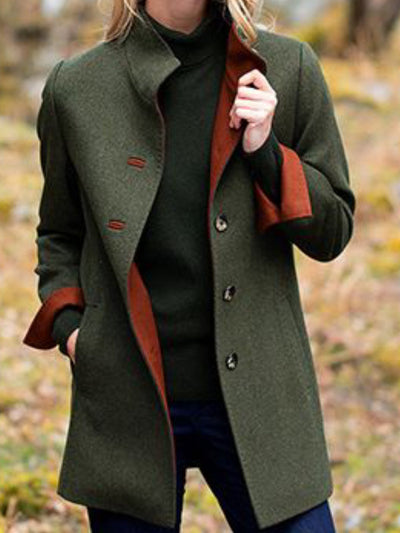Green Solid Long Sleeve Pockets V Neck Outerwear