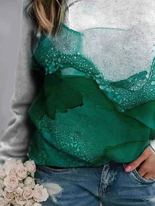 Green Ombre/tie-Dye Printed Long Sleeve Shirts & Tops